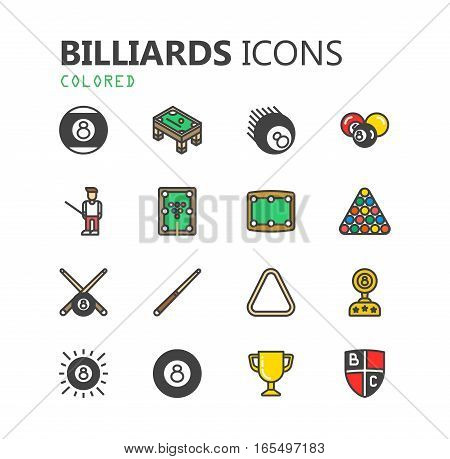 Simple modern set of billiards icons. Premium symbol collection. Vector illustration. Simple pictogram pack. EPS 10