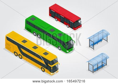 Isometric Double Decker Bus, City public bus and bus stop with blank surface for your creative design. Road vehicle designed to carry many passengers