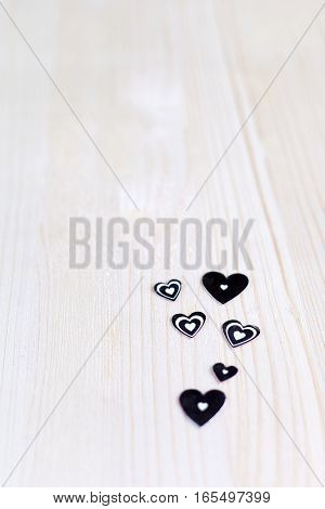 Silver heart on the background of wooden boards, Valentine's day