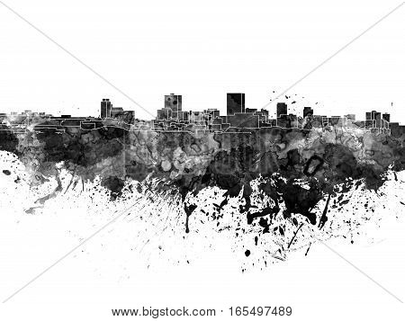 Anchorage skyline in artistic abstract black watercolor