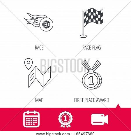 Achievement and video cam signs. Race flag, map and winner award icons. First place medal, wheel on fire linear signs. Calendar icon. Vector