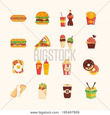 Fast Food Cafe Menu - set of modern vector icons. Hot dog, hamburger, french fries, sandwich, pizza, ice cream, muffin, bakon, ketchup, mustard, pop corn, donut, chicken roll-up sandwich coffee wok