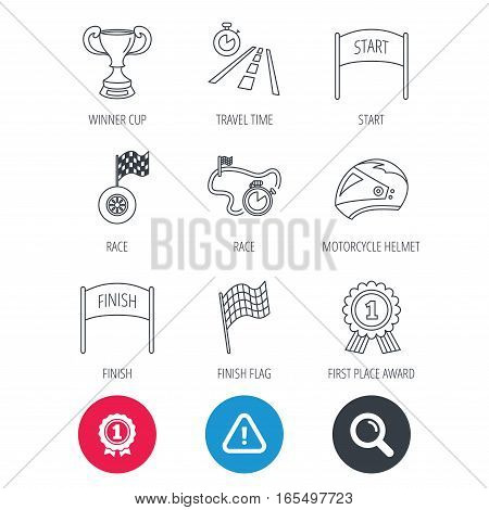 Achievement and search magnifier signs. Winner cup and award icons. Race flag, motorcycle helmet and timer linear signs. Road travel, finish and start flat line icons. Hazard attention icon. Vector