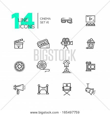 CInema and movie - set of modern vector line design icons. 3d glasses, film, pop corn, camera, award, ticket, movie hall, clapperboard, roll, megaphone, red carpet director chair