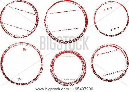 Set Of Six Grunge Vector Templates For Rubber Stamps In Dark Red Gamma.