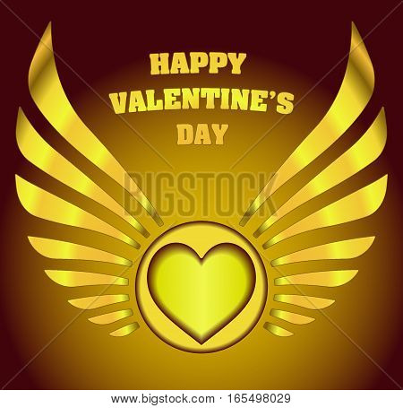Valentine's Decor With Heart, Wings And Caption