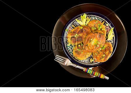 Piece Of Homemade Fried Pea Chikpea Fritter On Fork