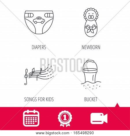 Achievement and video cam signs. Diapers, newborn baby and songs for kids icons. Beach bucket linear sign. Calendar icon. Vector