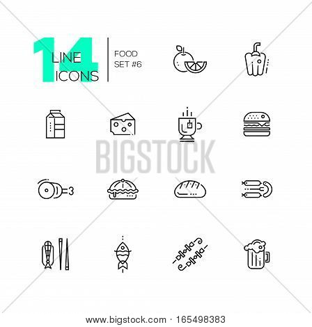 Kinds of Food - set of modern vector line icons. Orange, pepper, milk, cheese, tea, hamburger, meat, pie bread sausages fish kebab beer