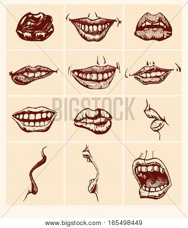 Set of mouth smile sexy woman lips. Vector illustration in ink hand drawn style.