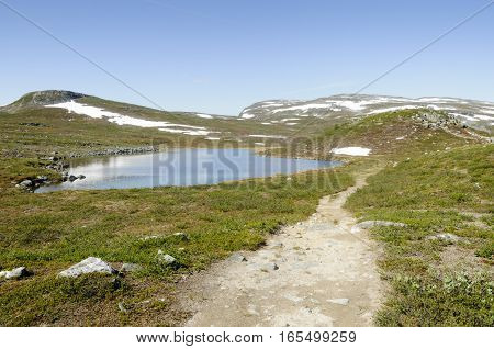 Lapland landscape: hiking path in Malla Strict Nature Reserve in Kilpisjarvi Lapland Finland Europe