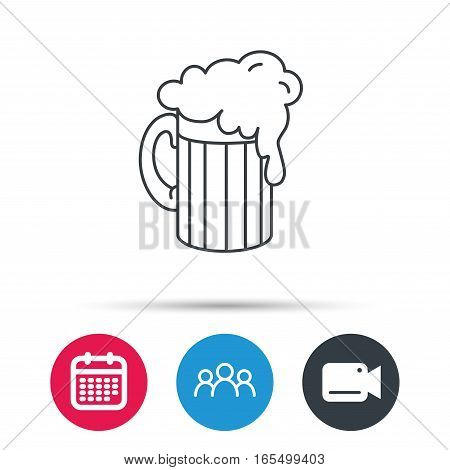 Beer icon. Glass of alcohol drink sign. Brewery symbol. Group of people, video cam and calendar icons. Vector