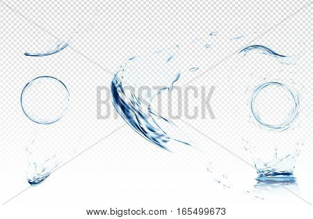 Transparent water wave with bubbles. Vector illustration in light blue colours. Purity and freshness concept. Website abstract water background banner or header set