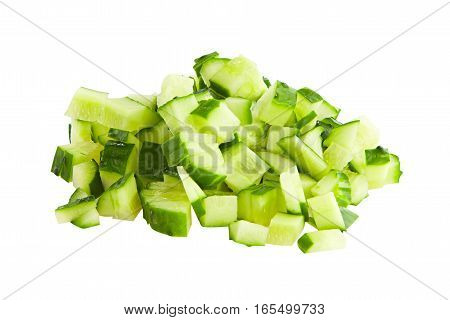 Slices Of Raw Cucumber Isolated On White