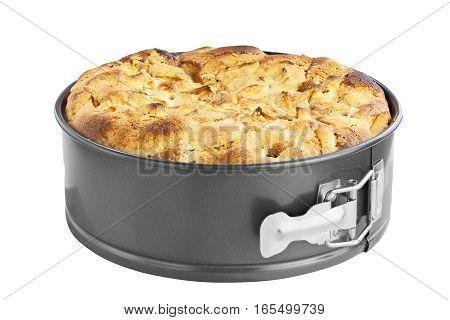 Apple Apple Pie In Baking Dish On White Background