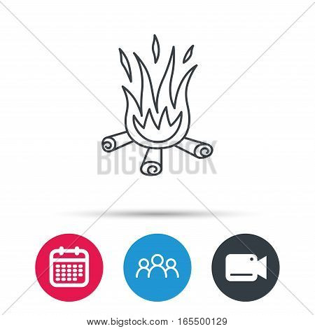 Bonfire icon. Fire sign. Group of people, video cam and calendar icons. Vector