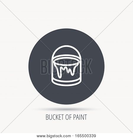 Bucket of paint icon. Painting box sign. Round web button with flat icon. Vector