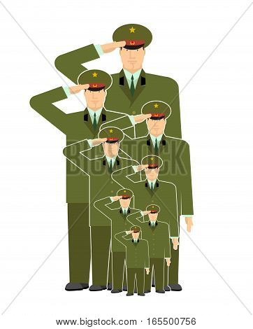 Military Family. Relatives Of Soldiers. Army Stirpes. Russian Officers In Uniform. Illustration For