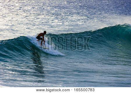 Surfing on Ipanema beach in Rio de Janeiro
