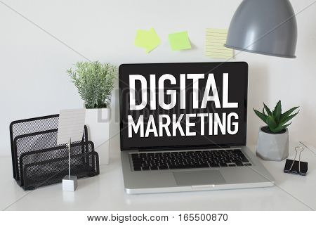 Digital marketing business strategy concept with laptop in office