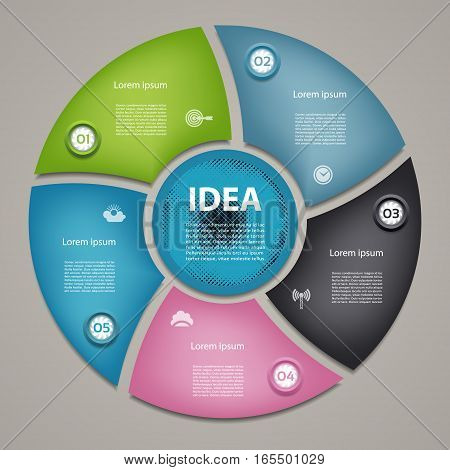 Vector circle infographic. Template for cycle diagram graph presentation and round chart. Business concept with 5 options parts steps or processes. Abstract background