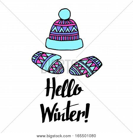 winter cap illustration hat vector fashion warm accessory knit clothing