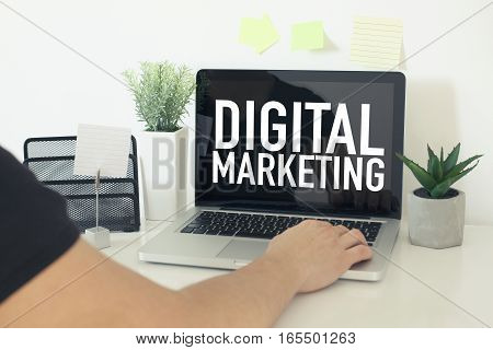 Digital marketing business concept in office with person