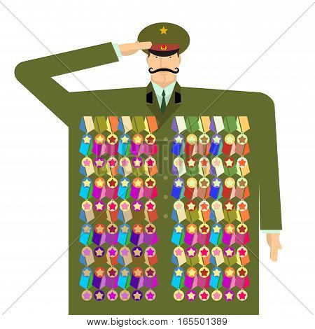 Russian Officer And Awards And Medals. Illustration For 23 February. Day Of Defenders Of Fatherland.