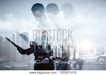 Man with document on abstract city background. Double exposure