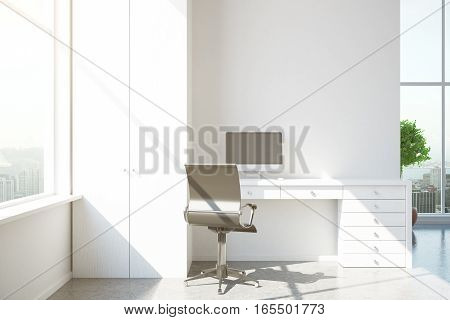 Modern Interior With White Workplace