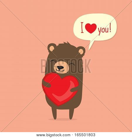 Valentine's Day card with cute cartoon bear holding heart and saying I love you in speech bubble