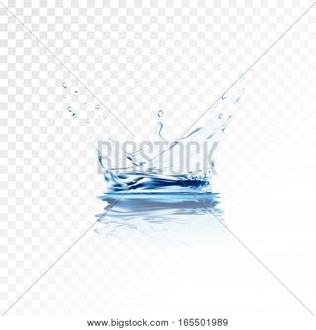Blue transparent water vector splash crown with ripple reflection. water spray with drops isolated. 3d illustration vector. aqua surface background created with gradient mesh tool