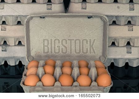 Egg box full of fresh organic chicken eggs