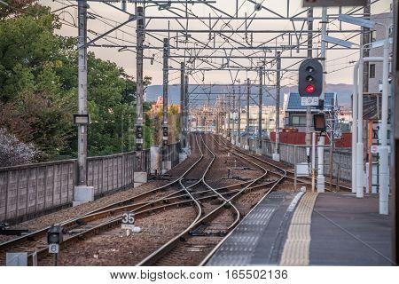 ToyotashiAichiJapan - November 242015 : Scene of the local train Toyotashi station in ToyotashiAichiJapan. Rail transport services in Japan are provided by more than 100 private companies.
