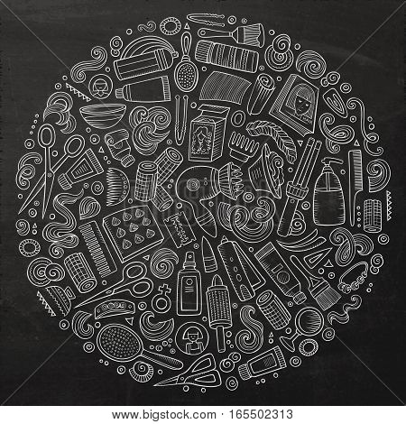 Line art chalk board vector hand drawn set of Hair salon cartoon doodle objects, symbols and items. Round composition