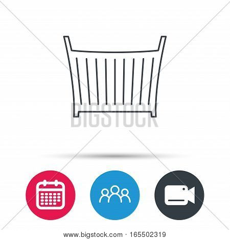 Baby crib bed icon. Child cradle sign. Newborn sleeping cot symbol. Group of people, video cam and calendar icons. Vector