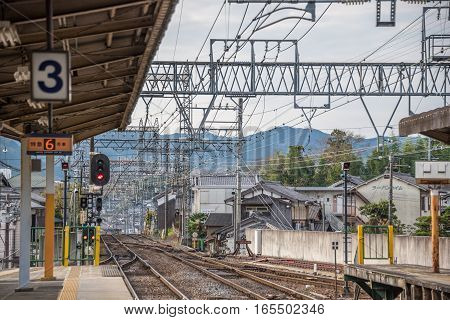 Akameguchi NabariJapan - November 252015 : Scene of the Akameguchi train station in Akameguchi NabariJapan. Akameguchi Station is a railway station on the Kintetsu Osaka Line operated by the private railway operator Kintetsu.