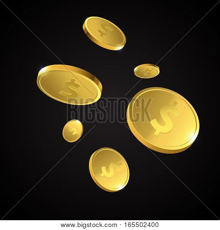 Vector Illustration of flying golden coins. Money illustration isolated on black background.