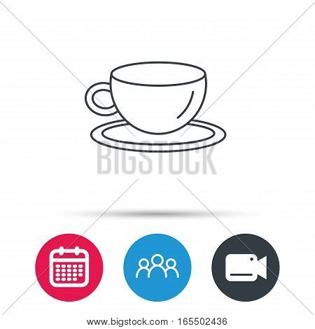 Coffee cup icon. Tea or hot drink sign. Group of people, video cam and calendar icons. Vector