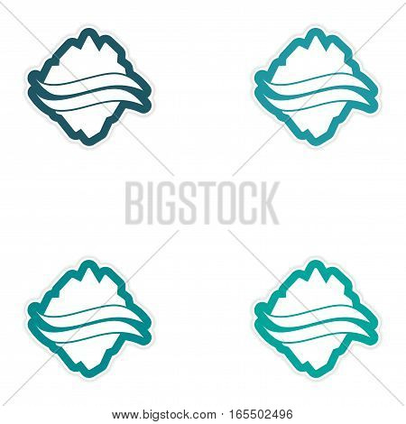 Set of paper stickers on white background Arctic map