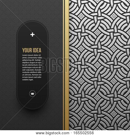 Web Banner Template On Silver/platinum Metallic Background With Seamless Geometric Pattern. Elegant