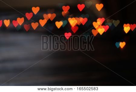 variegated heart bokeh background on Valentine's day