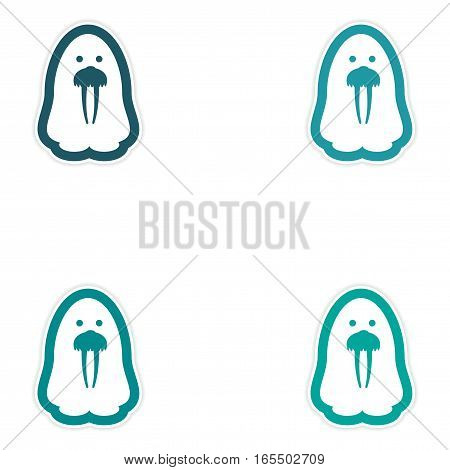 Set of paper stickers on white background Arctic walrus