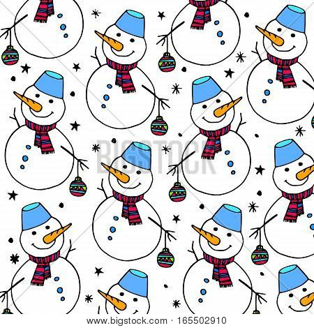 vector snowman xmas christmas illustration white holiday