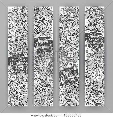 Graphics vector hand-drawn Love and Valentines Doodle. 4 Vertcal line art banners design templates set