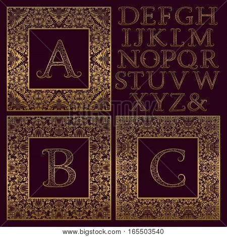 Vintage monogram kit. Golden patterned letters and ornate square frames for creating initial logo in antique style.