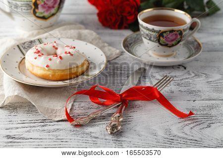 One Donut On Valentine Day