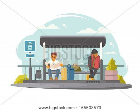 Passengers sitting at bus stop waiting for transport. Vector illustration