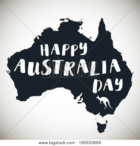 Happy Australia republic Day Typographic poster with hand drawn quote. Lettering with grunge texture. National banner poster. Australian Republic Day celebration