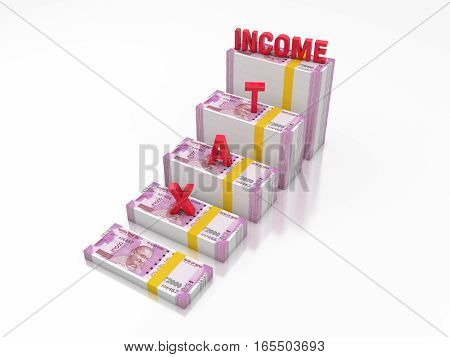 New Indian Currency with TAX- 3D Rendered Image